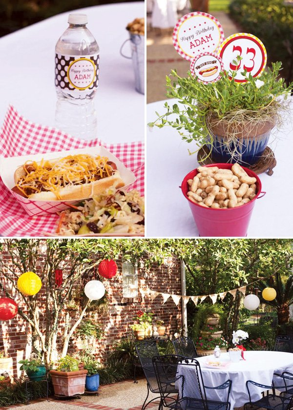hot dog party decorations with bowls of peanut and potted plants in a backyard setting
