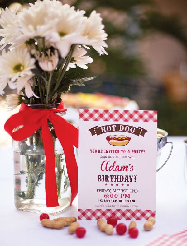 Hot Dog Birthday party invitation and vase of flowers