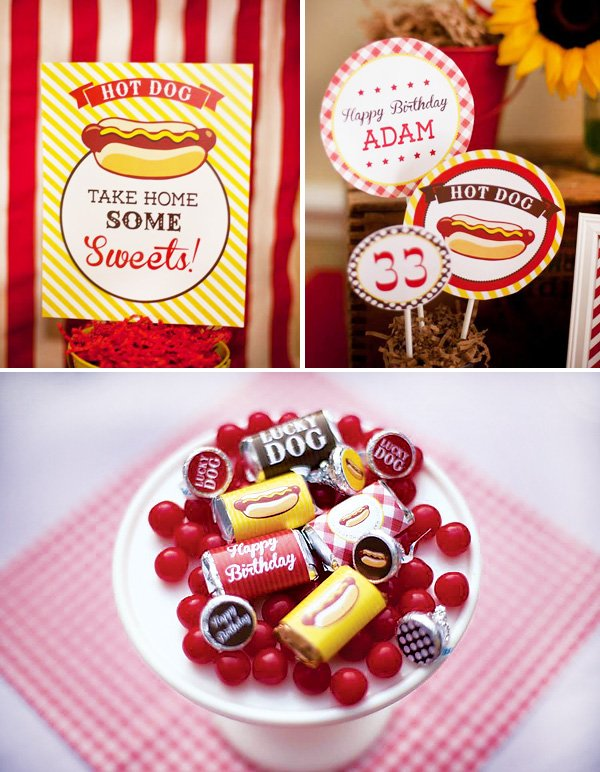 Hot Dog party printables with party circles, candy wrappers and postcard signs