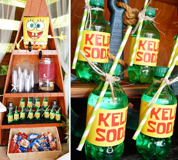 sponge bob drink display and kelp soda