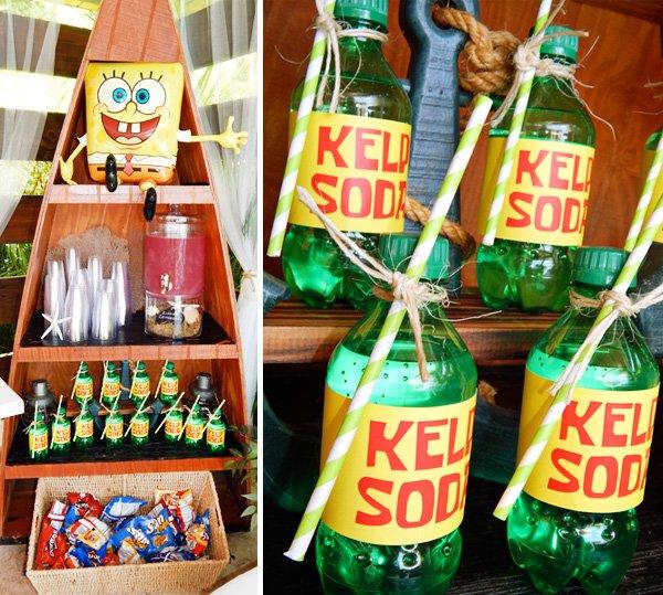 sponge bob drink display and kelp soda