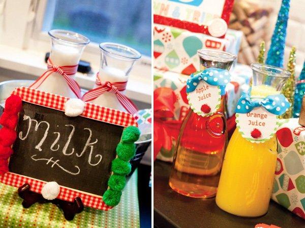 winter wonderland christmas themed joint birthday party drinks were milk, orange and apple juice