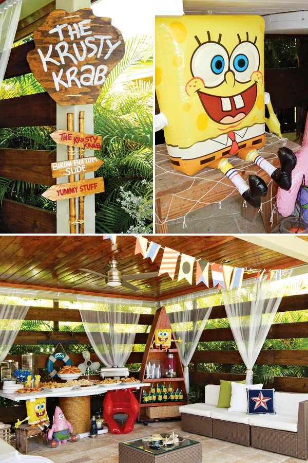 blow up sponge bob and krusty krab sign