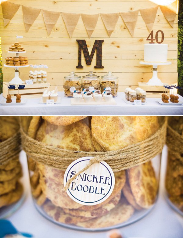 manly wooden dessert table and cookies