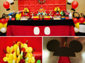 mickey themed dessert table for a first birthday party