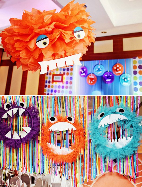 monster face tissue pom craft idea