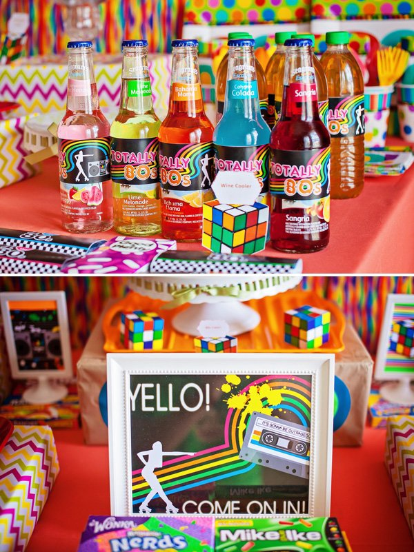 Radical 80 39 s themed 30th birthday party hostess with for 80 s table decoration ideas