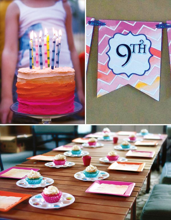 pink and orange ombre cake and party printables