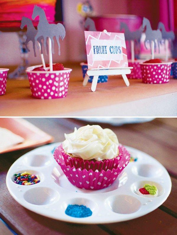 painters palette cupcake display