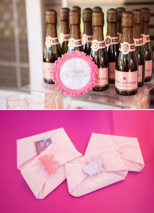 mini pink champagne and pink diaper napkins