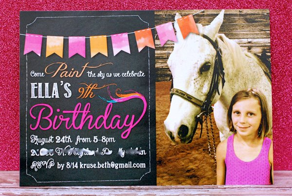 pink glitter and horse photo party invitation