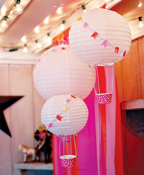 pink hanging lantern hot air balloon party decor