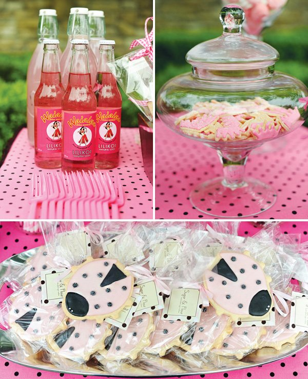 pink party drinks and desserts