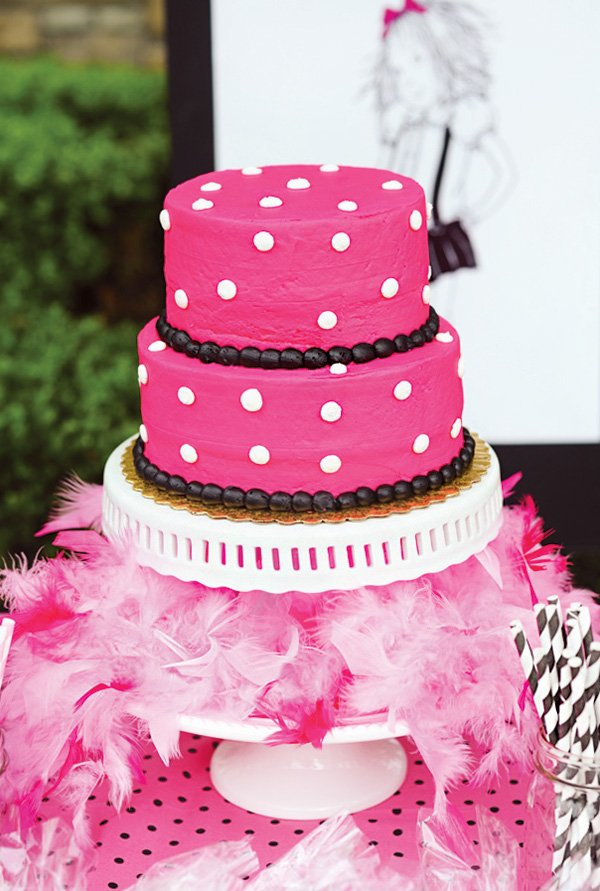 pink polka dot birthday cake