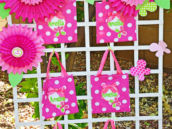 pink polka dot favor bag display