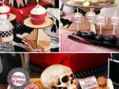 pirate birthday cake for captain hook, doubloons, a skull, and cannon ball cake pops