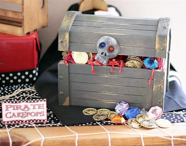 pirate party birthday decorations with a homemade treasure chest