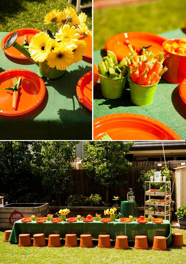 healthy kids table snacks and potted planter chairs
