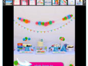 a pink, orange, green and blue pony and pom or pom-pom themed kid's birthday party with a beautiful dessert table and garlands