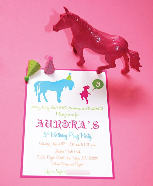 pony or horse party themed invitation