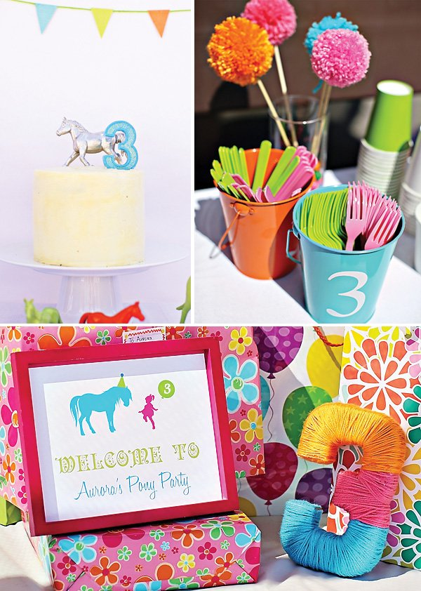 3 year old pony party birthday cake, welcome sign,  colored utensils and yarn wrapped decoration