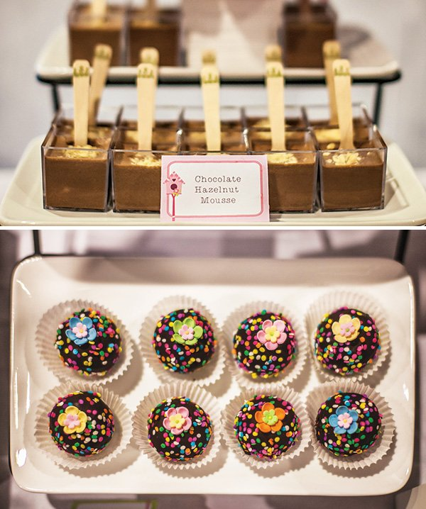 fancy and pretty chocolate hazelnut mousse and confetti sprinkle fudge truffles with edible flowers