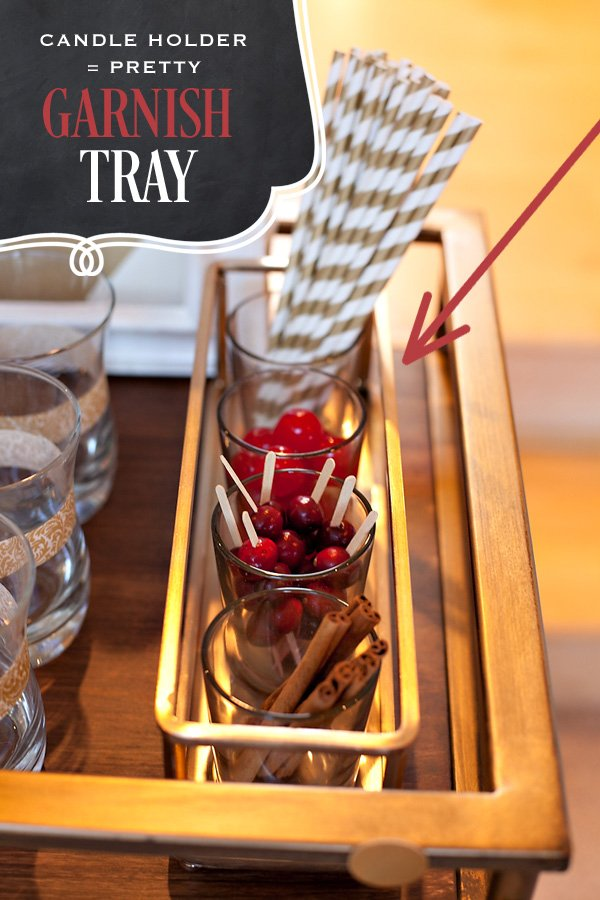 creative drink garnish tray made from a candle holder