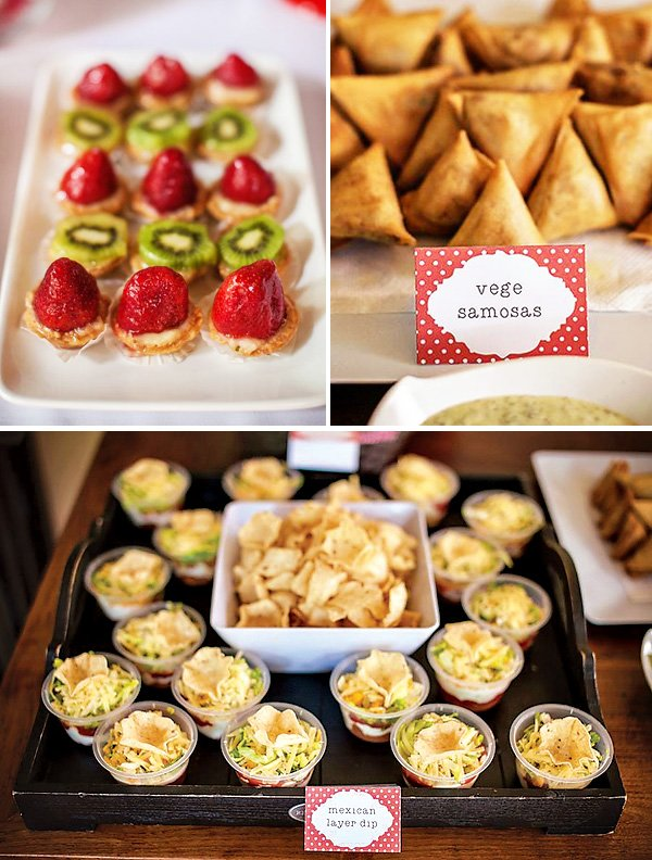 fruit tartlets, veggie samosas, and mini quiche - party food