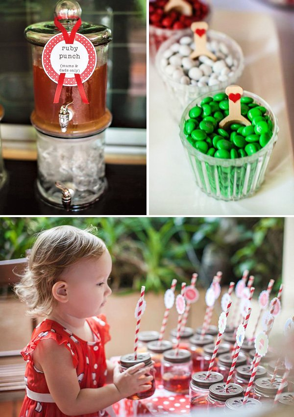 ruby punch and red white mason jar party drinks