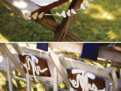 rustic wedding decorations - heart garland and Mr. and Mrs. signs