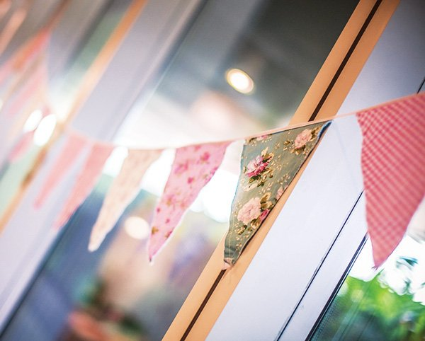 shabby chic floral fabric bunting with vintage fabrics in pinks