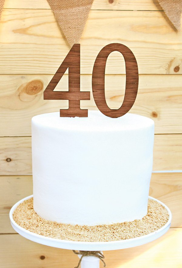 simple white 40th birthday cake