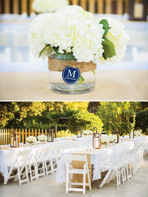 simple white tablescape with hydrangea centerpieces