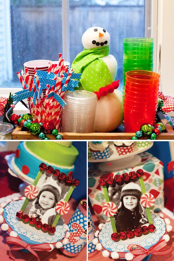 snowman drink station at a christmas themed birthday party as well as framed photos of the birthday boys