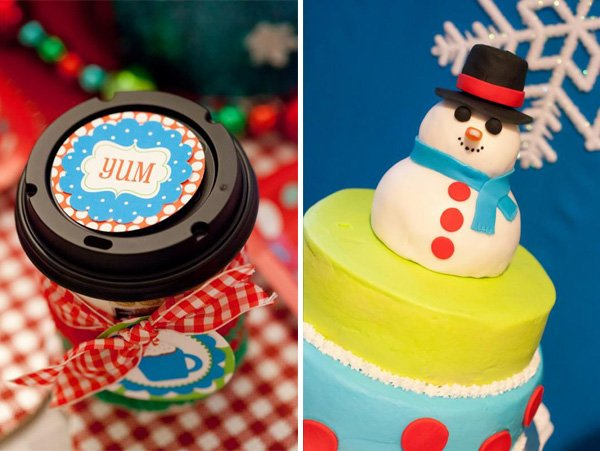 colorful snowman cake topper with snowflake backdrop and yummy hot cocoa printables and station