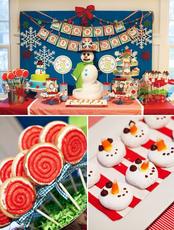 snowman cookies and cake at the dessert table for a winter wonderland christmas kids birthday party