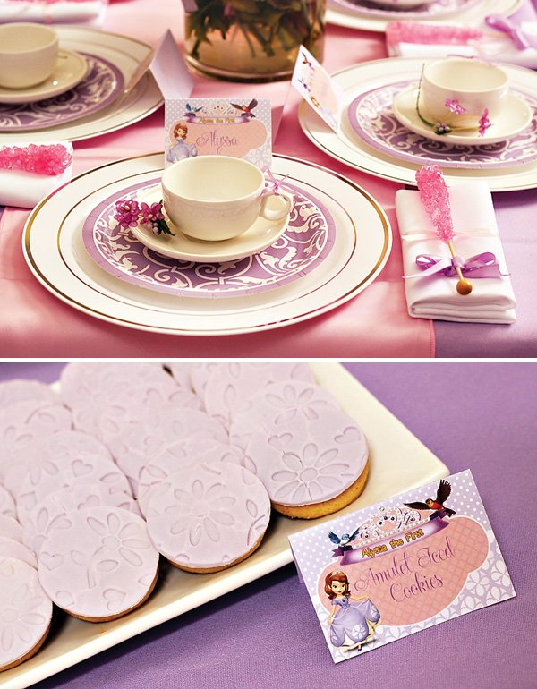 lavender sugar cookies, pink rock candy and princess place setting for a sofia the first birthday tea party