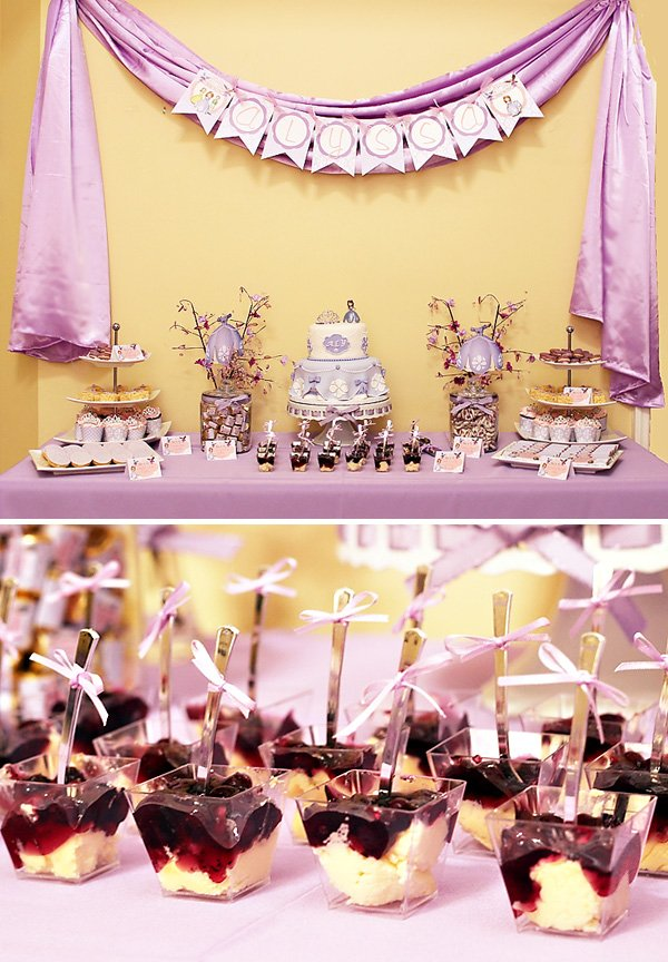 Sofia the first dessert table for a birthday tea party