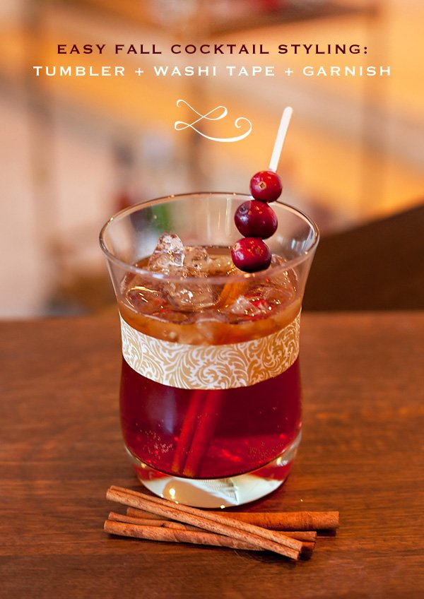 easy fall cocktail - spiced rum, apple cider, pomegranate