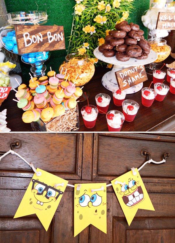 sponge bob banner and desserts