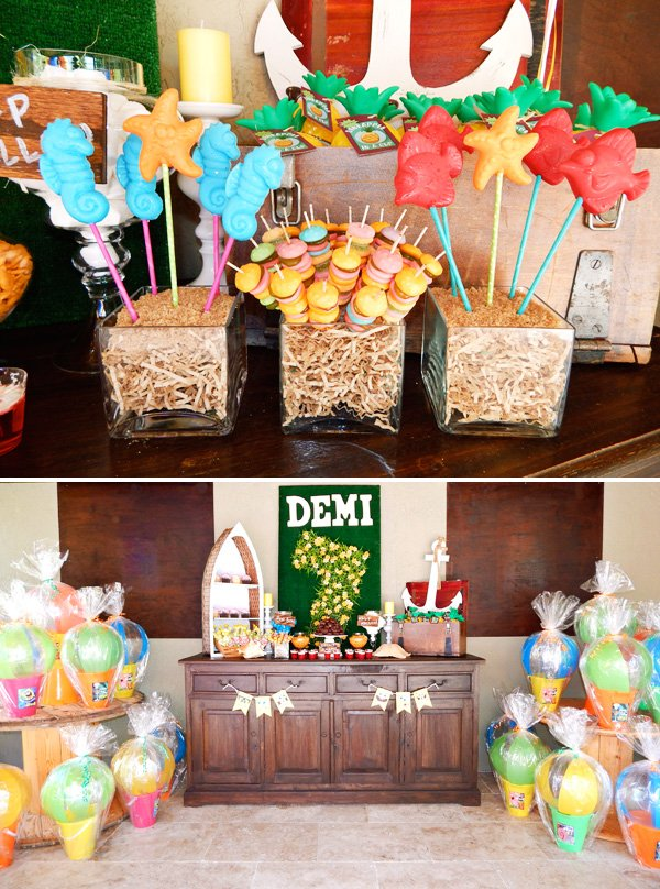 sponge bob birthday party display and sea creature candy