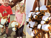 kids riding horses on a stick at a pony party