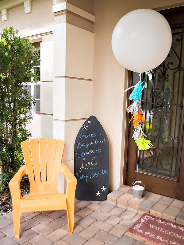 Surfer Baby Shower Entry Decorations - Chalkboard Surfboard