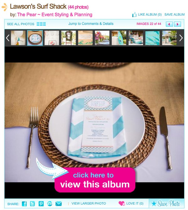 surf themed baby shower pictures & place setting