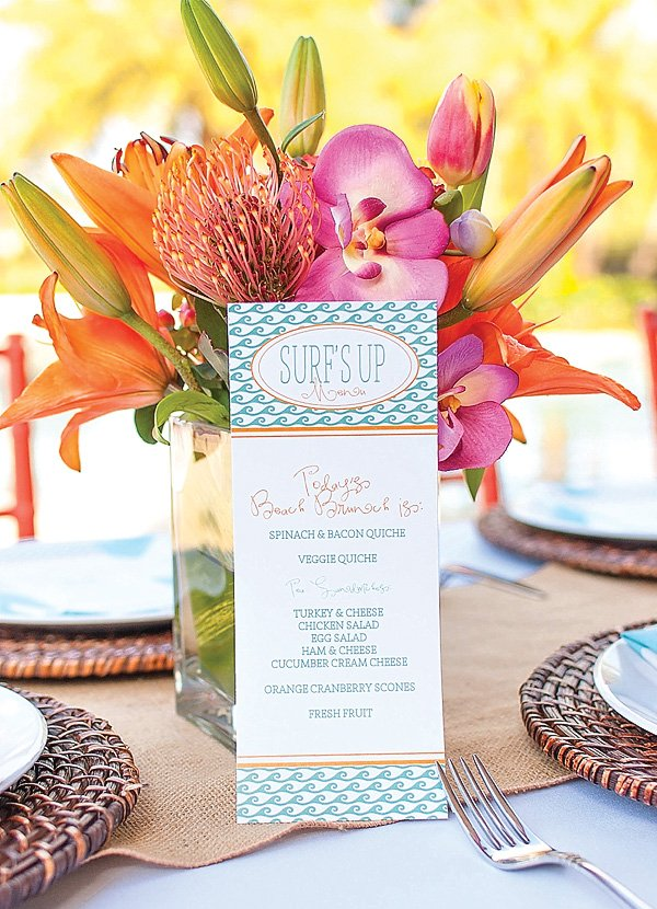 Surfer Baby Shower - Tropical Brunch Menu