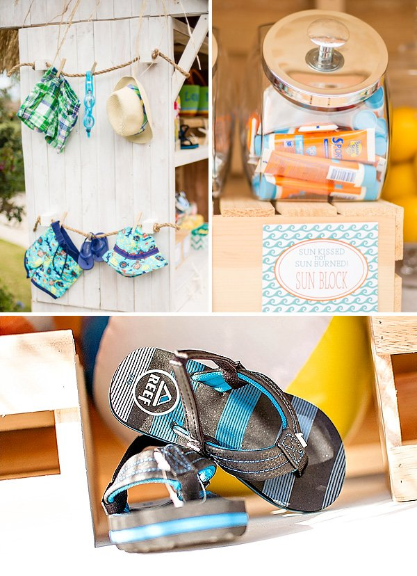There s a baby on board surfing themed baby shower for Baby shower decoration blog