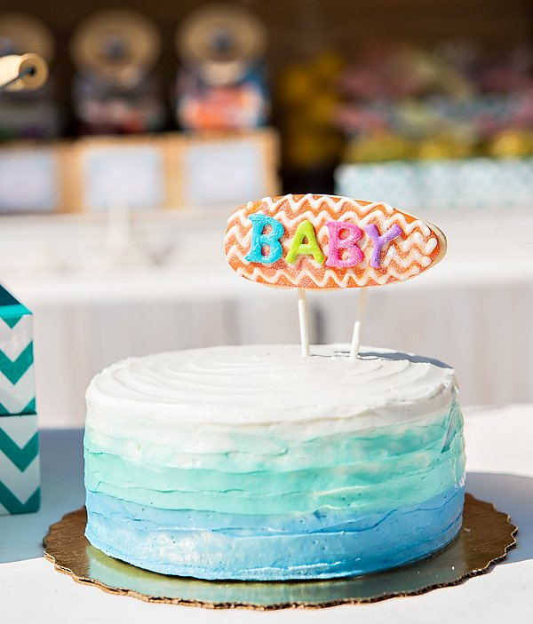 Surfer Baby Shower Cake