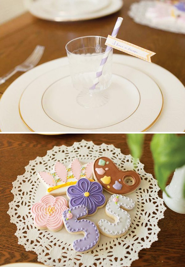 tangled iced princess cookies and place setting