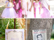 wanted poster for tangled character, flynn rider, and princesses dressed up for the party