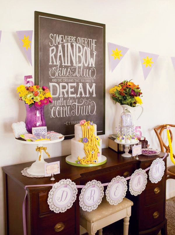dessert table and somewhere over the rainbow, dreams come true chalkboard art for tangled birthday party